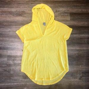 Yellow Nylon Mesh Swim Coverup
